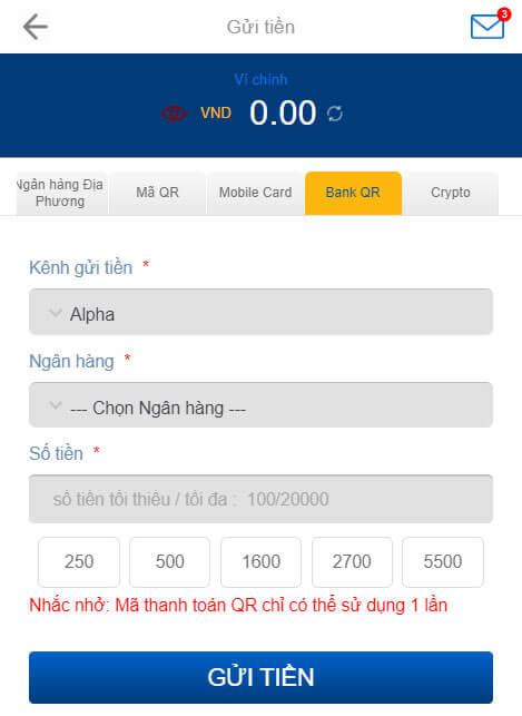Nạp tiền Bank QR Code BK8